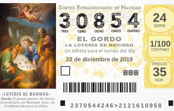 El Gordo julelotteri 2019 lottokupong